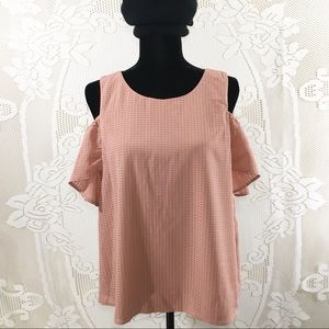 Meraki |  Cold Shoulder Blouse w Ruffled Sleeve